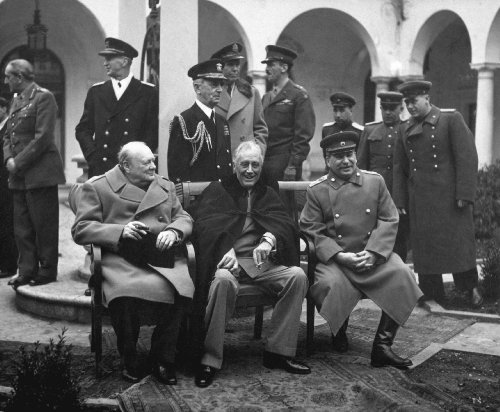 (photo Winston Churchill with President Theodore Roosevelt and Joseph Stalin at Yalta Conference 8 x 10 Glossy Picture Image #1)