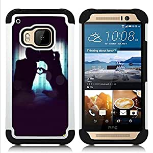 - Love romantic Heart - - Fulland Deluxe Hybrid TUFF Rugged Shockproof Rubber + Hard Case Cover FOR HTC One M9 Queen Pattern