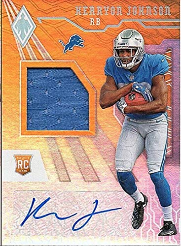 2018 Panini Phoenix RPS Rookie Auto Jersey Orange #20 Kerryon Johnson RC Game Used Autograph /199 Detroit Lions NFL Football Trading Card ()