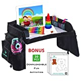 Kids Travel Play Tray for Car Seat with Dry Erase Top, Bonus 30 Downloadable Coloring Pages