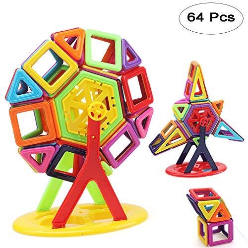 (Fashionsun Magnetic Building Blocks Toys,Mini Magnetic Designer Construction Set Model & Building Plastic Magnetic Blocks Educational Toys for Kids Gift (64pcs))
