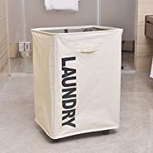 "Bonnlo Rolling Foldable Laundry Basket Collapsible Waterproof Laundry Hamper Dirty Clothes Hamper Bag with Dust Cover on Wheels White 16"" L X 13.4""W X 22.8"" H"