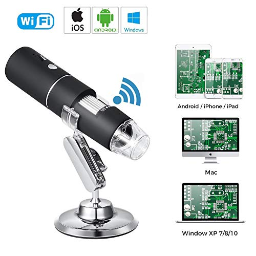- Yugoo Wireless WiFi USB Digital Microscope 1080P HD Handheld WiFi Microscope with 2MP Camera, 50x to 1000x Magnification and 8 Built-in LEDs for iOS, Android, Tablet, Windows