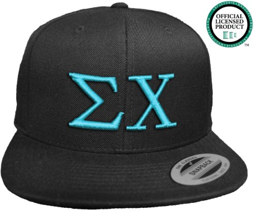 SIGMA CHI Flat Brim Snapback Hat Turquoise Letters / Sig Chi | Sigs | Fraternity Cap
