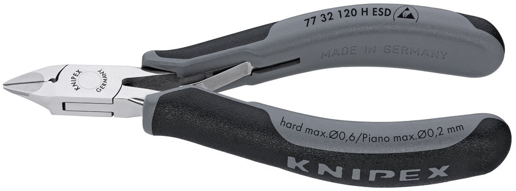 KNIPEX Tools 77 32 120 H ESD Electronics Diagonal Cutters, Carbide Cutting Edges, 4.75-Inch