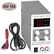 Haitronic DC 30V 10A adjustable switching DC Power Supply, from input AC 110V to precise variable DC 0~30V @ 0~10A output, 3 Digital Display with Alligator Cable & Power Cord for Phone & Laptop Repair