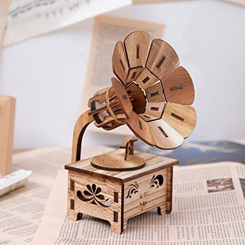 HoneyCare Classical Music Box Wooden Gramophone, Turntable Gramophone Art Disc Music Box, DIY Children's Birthday Gifts
