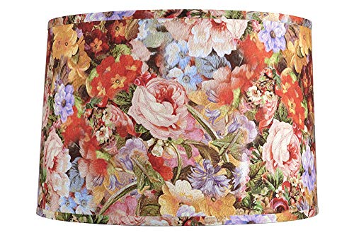 - Deleon Multi-Color Floral Drum Lamp Shade 15x16x11 (Spider) - Springcrest