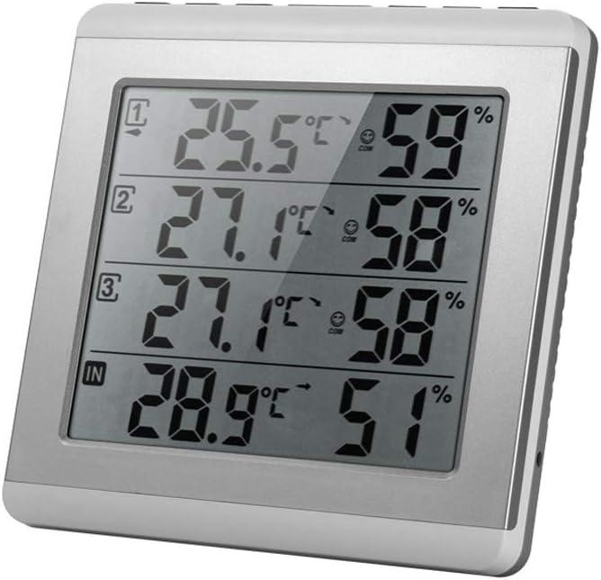 ホームキッチンインテリア天気予測計 天気監視時計ワイヤレスLCDデジタル温度湿度計温度計湿度計屋内/屋外天気ステーション目覚まし時計 天気予測計 (Color : 銀, サイズ : 6.65*6.41inchs) 銀 6.65*6.41inchs