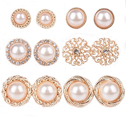 Shuning Assorted Faux Pearl Stud Earrings Set Circle Hemisphere 6 Pairs Shiny Goldtone