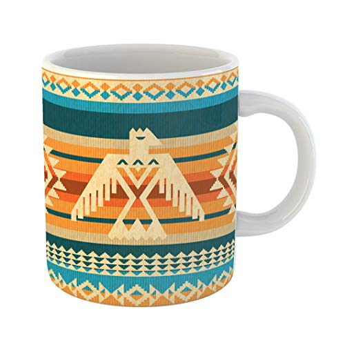 Emvency Coffee Tea Mug Gift 11 Ounces Funny Ceramic Thunderbird Navajo Abstract Eagle and Traditional Geometric Motifs American Gifts For Family Friends Coworkers Boss Mug