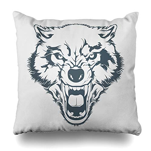Ahawoso Throw Pillow Cover Carnivore Werewolf Angry Wolf Head Tattoo Mascot Dog Hunter Teeth Emblem Danger Decorative Pillow Case 20x20 Inches Square Home Decor -