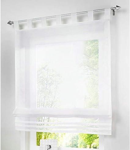 ESLIR Roman Blind No Drilling Roman Blind with Eyelets Kitchen Curtains with U-Hooks BxH 80x140cm grey Semi-Transparent Modern 1 Piece