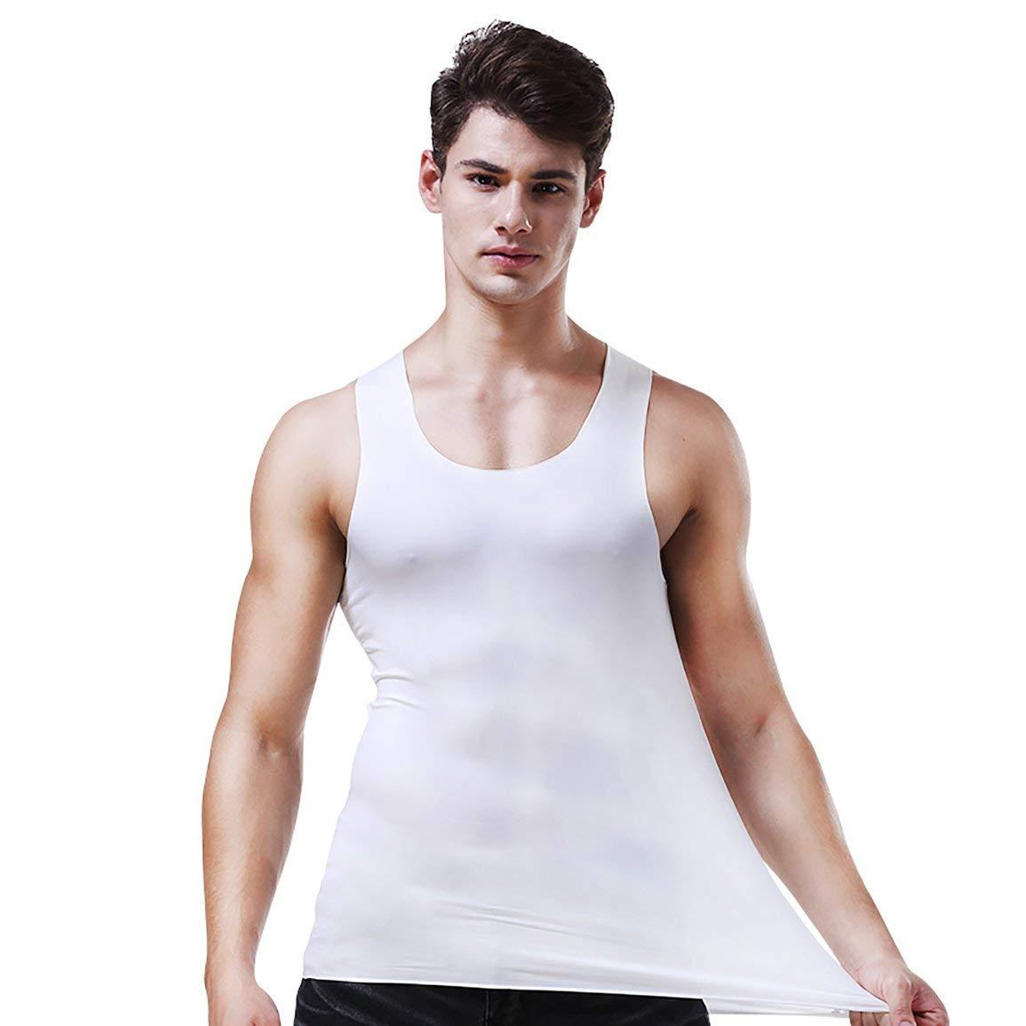 Blanco fghfhfgjdfj Hombres Moda Deporte Al Aire Libre Ejecuci/ón de Hielo Chaleco de Seda Camisa sin Costuras Faja Ropa Interior Fitness Cuerpo Adelgazante C/ómodo Transpirable