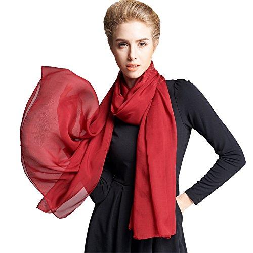 Ysiop Women 100% Silk Solid Scarf Oversize Sunscreen Shawl Infinity Beach Wrap Red
