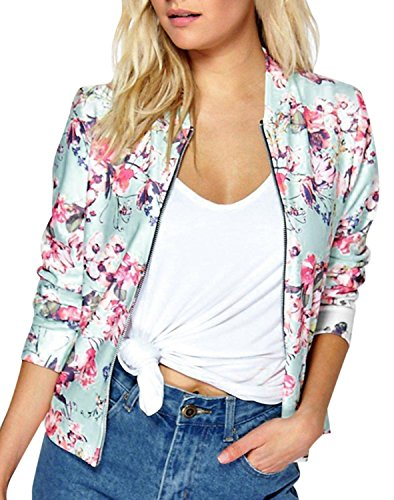 [IF FEEL Womens Casual Floral Print Long Sleeve Bomber Jacket ((US 16-18)XXL, Pink)] (Greaser Outfit)