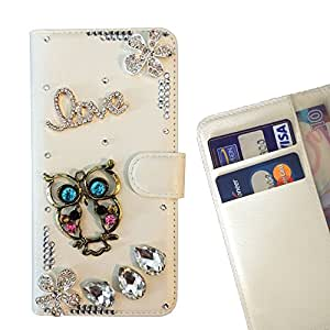 - Love owls Bling Flowers - 3D hecho a mano de la manera cristalina de Bling del Rhinestone de la PU de la carpeta del tir???¡¯?? - Funny Shop For Samsung Galaxy On7 G6000