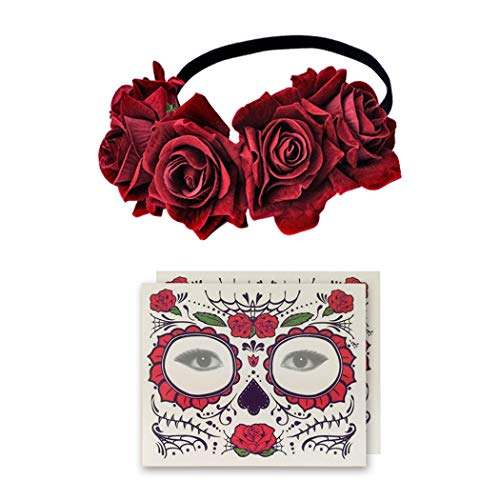 2 Pcs Skull Temporary Face Tattoos and 1 Pcs Rose Flower Hair Garland for Day of the Dead -