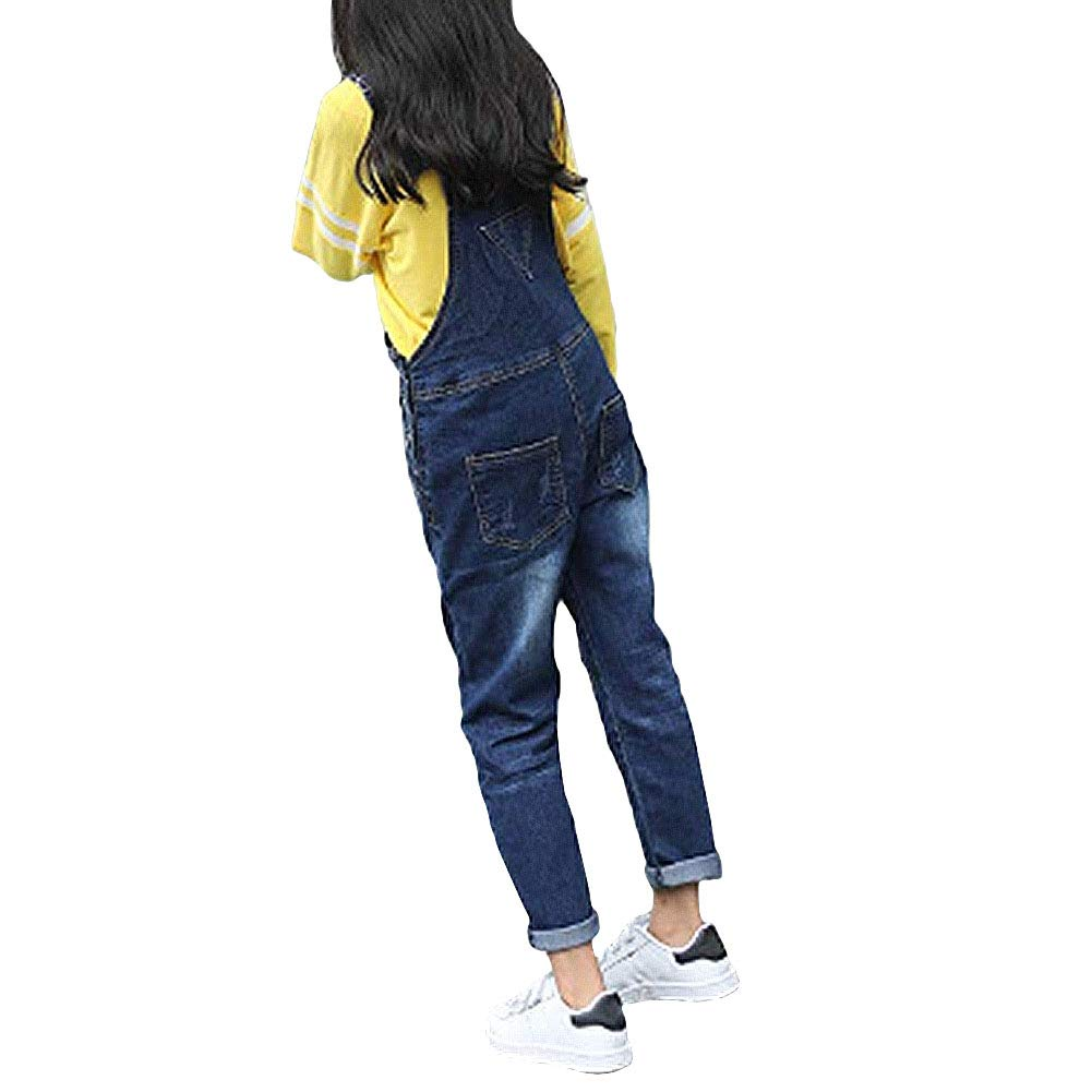 Digirlsor Kids Girls Distressed Bib Pants Overalls Blue Ripped Denim Romper Jumpsuit Long Jeans,3-14 Years DC130