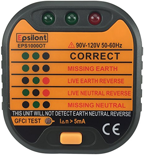 epsilont power socket outlet tester polarity checker gfci