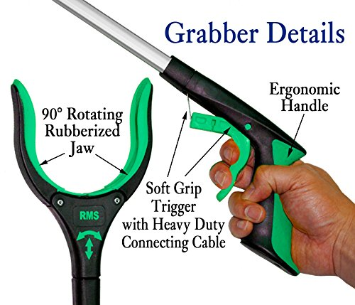 RMS 26'' Grabber Reacher   Rotating Gripper   Mobility Aid Reaching Assist Tool   Trash Picker, Litter Pick Up, Garden Nabber, Arm Extension   Ideal for Wheelchair and Disabled (Green) by RMS Royal Medical Solutions, Inc. (Image #2)