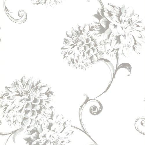 Beacon House 450-67354 Deliah White Watercolor Dahlia Wallpaper, White