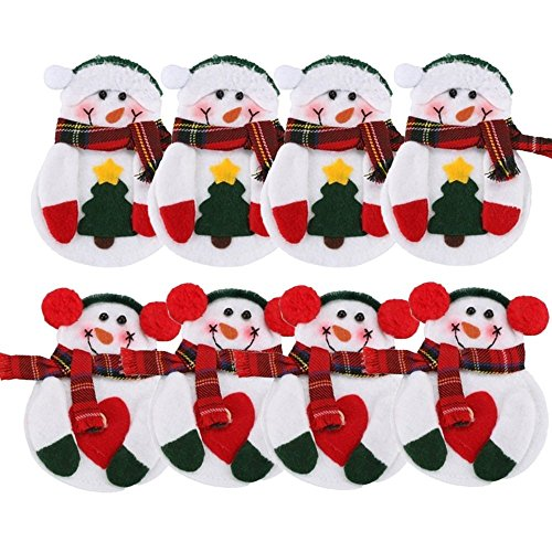 Warmstor 8PCS  Christmas Snowman Tableware Holder Silverware