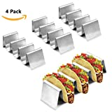 Buruis 4 Pack Taco Holder Stand, Stylish Stainless Steel Taco Rack Tray-Hold up to 16 Soft or Hard Shell Taco for Home and Restaurants, Oven Grill Dishwasher Safe