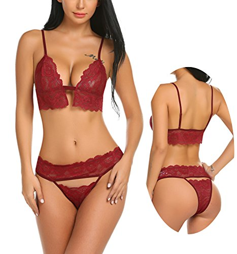 ADOME Women Lingerie Lace Bodysuit Strap Bra and Panty Set Mini Teddy Outfit Dark Red XL