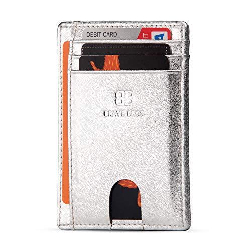 (BRAVE BROS - Slim Genuine Leather RFID Blocking Minimalist Front Pocket Wallets & Card Holders for Men & Women (Silver Sand))