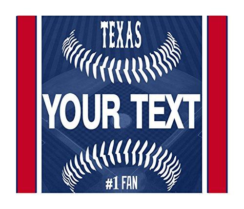 Rangers Mini Baseball Texas - BleuReign(TM) Personalized Custom Name Baseball Texas License Plate Square Refrigerator Fridge Magnet
