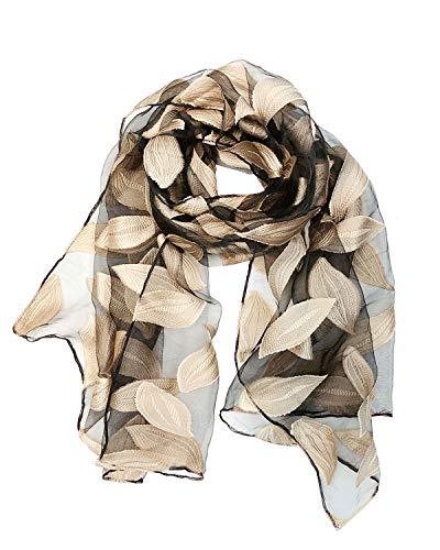 Wrapables Sheer Silky Feeling Falling Leaves Long Scarf Wrap Shawl