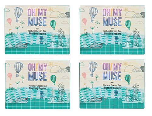 [Oh!My Muse] Natural Green Tea Oil Absorbing Sheets, Blotting Paper, 50 count (4 Packs)