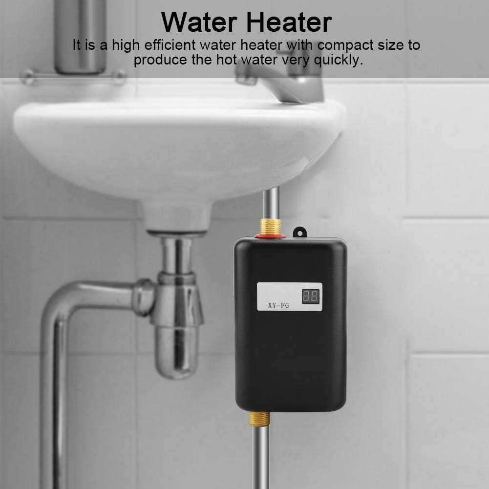 Tankless Water Heater,Electric Water Heater,110V Mini Tankless Instant Hot Water System for Bathroom Kitchen (Black) by DDZ (Image #3)