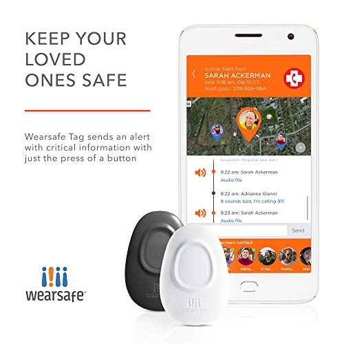 Wearsafe Personal Emergency Response Tag Lifetime Edition – Immediate Panic Button – Medical Response Wearable – One Touch Security Alert System White