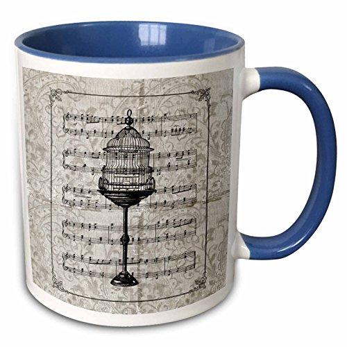 3dRose PS Vintage - Vintage Tall Bird Cage with Music Sheet - 15oz Two-Tone Blue Mug (mug_108720_11)