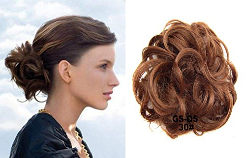 Extension Hair Digital (HI GIRL 30g Short Hair Bun Synthetic Hair Bun Scrunchie Scrunchy Up Do Hair Piece Hair Ribbon Ponytail Extensions Wavy Curly Messy Chignon Ponytail Bun #30 Copper)