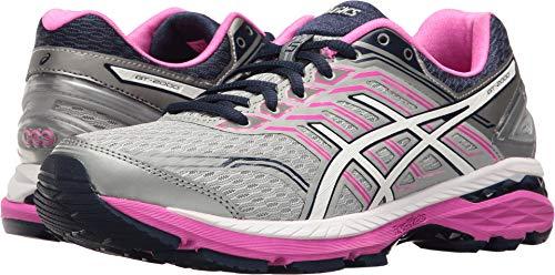 ASICS Women's GT-2000 5 Running Shoe, Mid Grey/White/Pink Glow, 7 M US