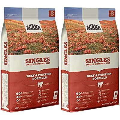 ACANA 2 Pack of Beef & Pumpkin Singles Dry Dog Food, 13 Pounds Each, High Protein, Limited Ingredient, Made in The USA