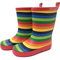 SKEANIE Kids Natural Rubber Gumboots, Rainbow Stripe, EU32