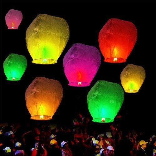 Andesan Ten Pcs Chinese Sky Fly Fire Lanterns Wish for Party Wedding Birthday by Andesan
