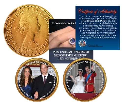 ROYAL WEDDING * Prince William & Kate * British Half Penny 24K Gold 2-Coin - Penny Coin Half