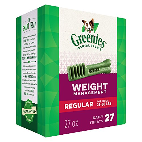 GREENIES Weight Management Regular Natural Dog Dental Care Chews Weight Control Dog Treats, 27 oz. Pack (27 Treats)