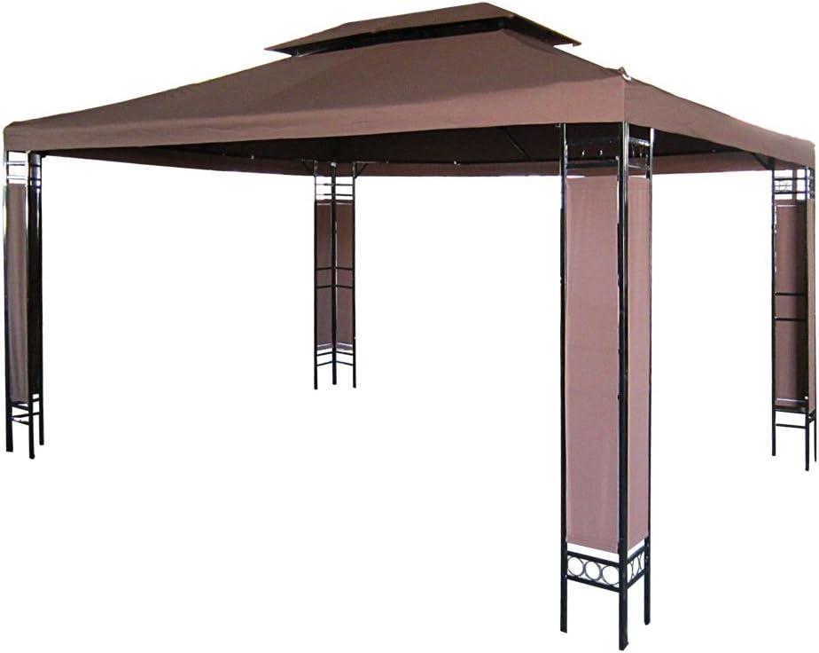 Miadomodo - Carpa para jardín y terraza marrón de 3 x 4m
