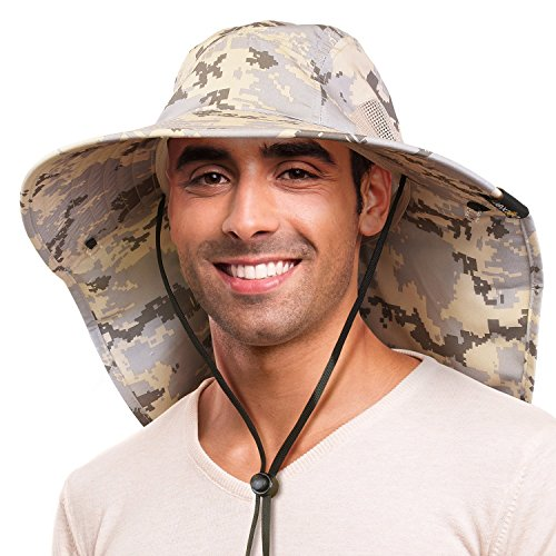 Outdoor Fishing Hat with Ear Neck Flap Cover Camo Wide Brim Sun Protection Safari Cap for Men Women Hunting, Hiking, Camping, Boating & Outdoor Adventures ()