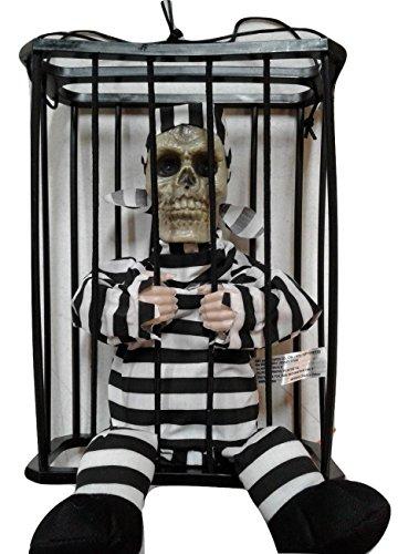 Prisoner Skeleton Halloween Prop (Animated Hanging Caged Skeleton Prisoner Halloween Prop Decor Light Up)