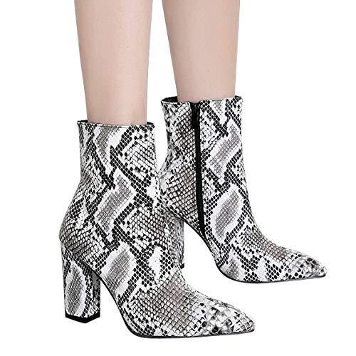 (Chaofanjiancai_shoes Sexy Snake Skin Leopard Print Shoes for Women Lace-Up Non-Slip High Heel Sandals Motorcycle Boots Short Bootie Zip)