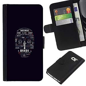 """A-type (Tipografía cráneo"""") Colorida Impresión Funda Cuero Monedero Caja Bolsa Cubierta Caja Piel Card Slots Para Samsung Galaxy S6 EDGE (NOT S6)"""