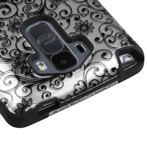 se, Kaleidio [TUFF] Shockproof Hybrid Dual Layer Protective Cover [Includes a Overbrawn Prying Tool] [Silver Clover Flowers] (Mobile Phone Tools Vista)