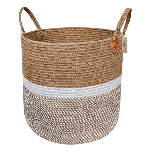 CHICVITA Extra Large Jute Basket Woven Storage Basket with Handles - Natural Laundry Basket Toy Towels Blanket Basket Home Decor Gift, 16